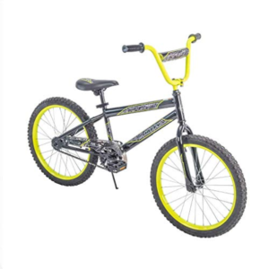 this is an image of a gray and yellow boys bike
