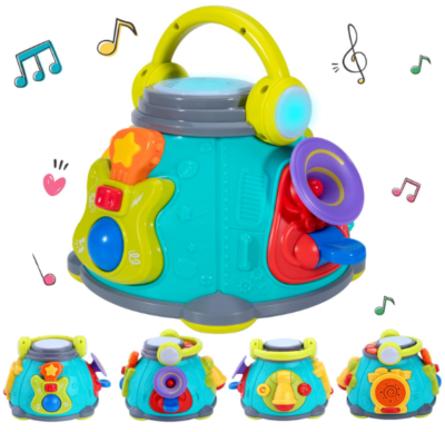 this is an image of babies ilearn music activity cube in bleu and yollow colors