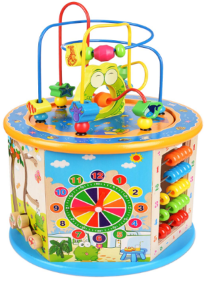 this is an image of babies multifunction wooden cube in colorful colors