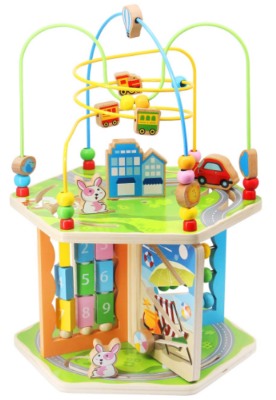 this is an image of babies bead maz activity cube in colorful colors