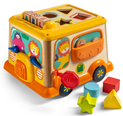 this is an image of babies brightactivity cube in orange and yellow colors