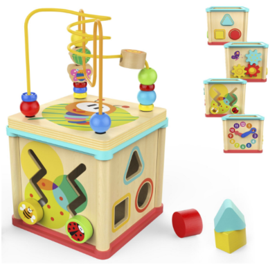 this is an image of babies bright activity cube in colorful colors