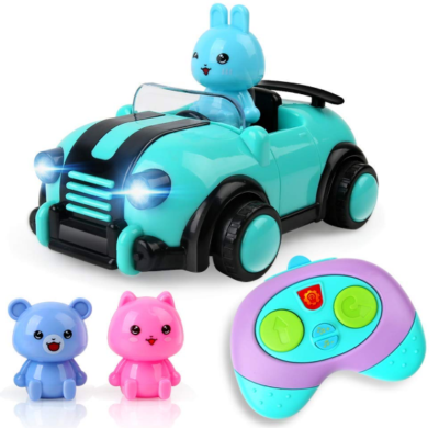 this is image of girl's remote control car with music in pink and bleu colors
