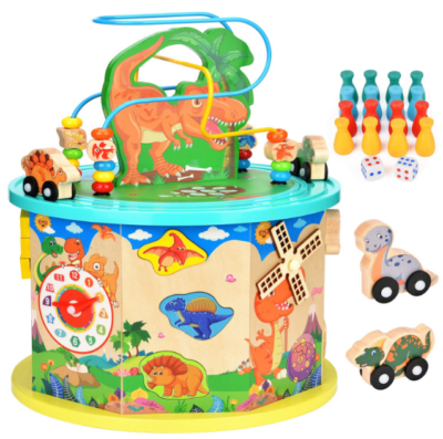 this is an image of babies large dinosaur activity cube in colorful colors