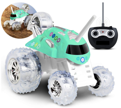 this is an image of girl's remote control twirling tumbler car in mint green color