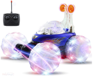 this is an image of girl's acrobatic stunt remote control car in colorful colors