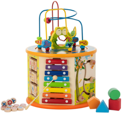 this is an image of babies kiddery activity cube in colorful colors