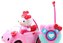 this is an image of girl's hello kitty remote control car in pink color