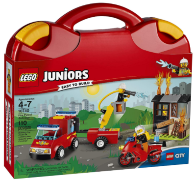 this is an image of boy's lego juniors fire building sit in red color