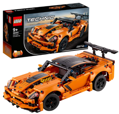 this is an image of boy's lego technic building kit in orange color