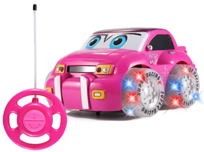 this is an image of girl's remote control racer vehicle car in pink purple colors
