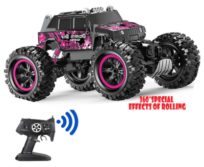 this is an image of girl's tumbling waterproof remote control car in pink and black color