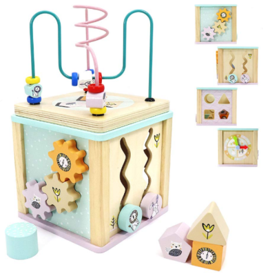 this is an image of babies adadnap activity cube in colorful colors