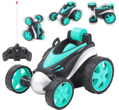 this is an image of girl's rolling remote control car in bleu and black colors