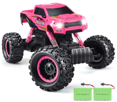 this an image of girl's double newest remote control car in pink and black colors