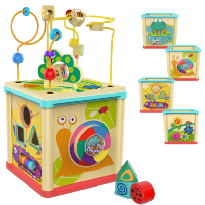 this is an image of babies bright wooden activity cube in colorful colors