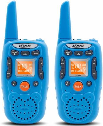 This is an image of a blue walkie talkie set of 2