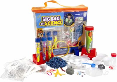 This is an image of a red science experiment kit with a bunch of accessories