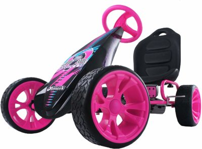 This is an image of pink pedal go cart