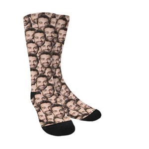 this is an image of personalized socks with faces on