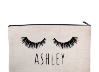 this is an image of a makeup bag customized with name